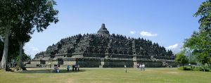 Borobudur temple view from northwest plateau, Central Java, Indonesia. By Gunawan Kartapranata.